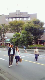 散歩で神宮球場