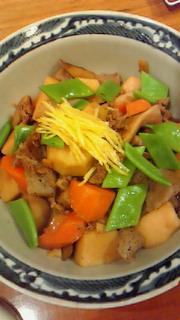彩り牛肉煮