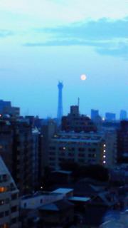 夕闇のスカイツリーと月