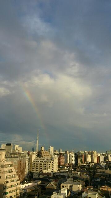 台風過ぎ、虹架かる